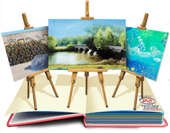 A painting of 3 artists' easels with paintings on them