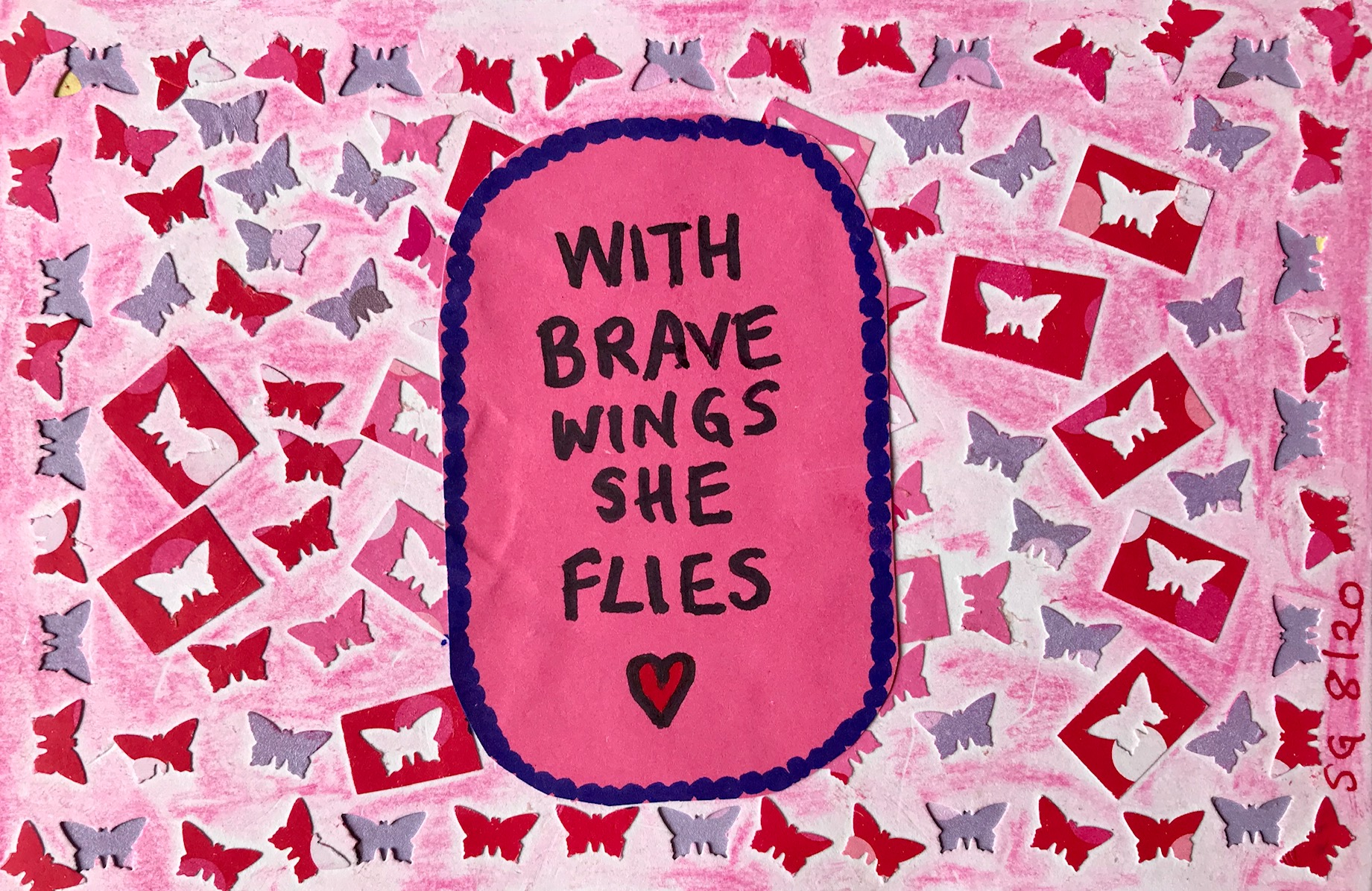 Pink backround graphic with words 'with brave wings she flies'