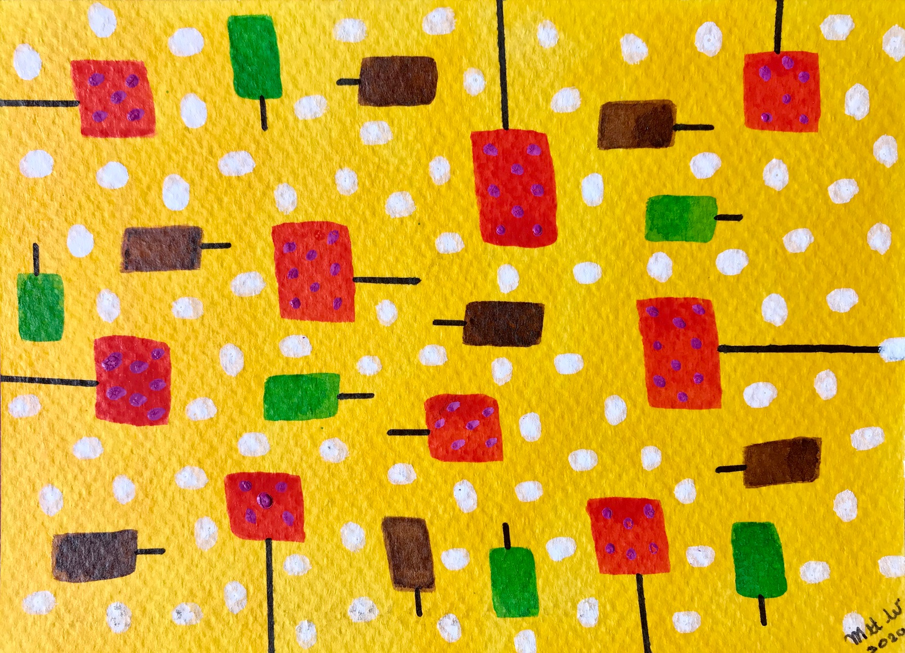 couloured squares on yellow background