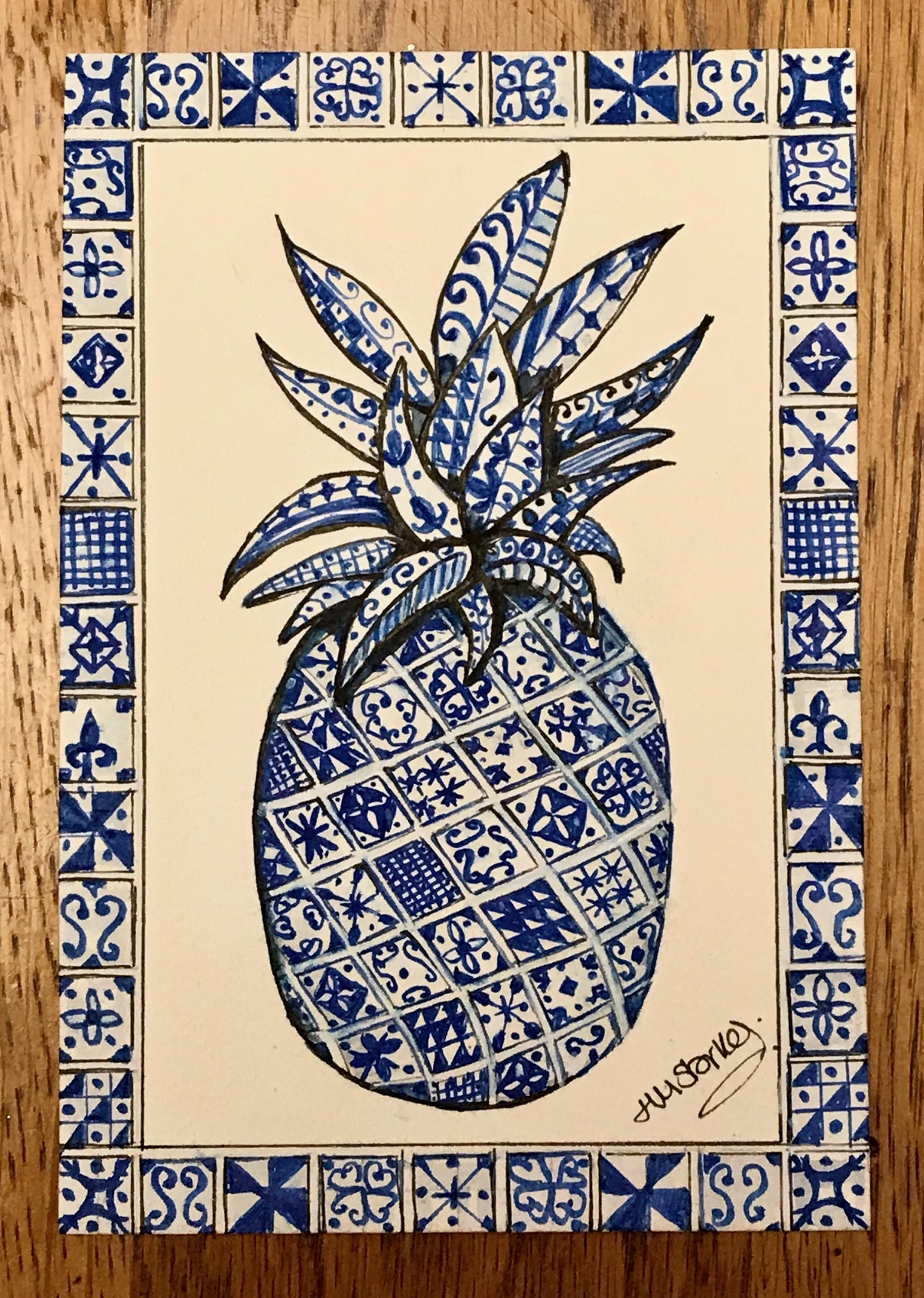 A pineapple in the style of Spanish tiles